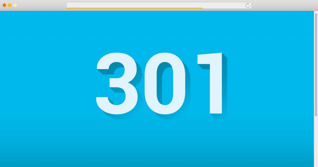 imagem da página da web escrito redirect-301
