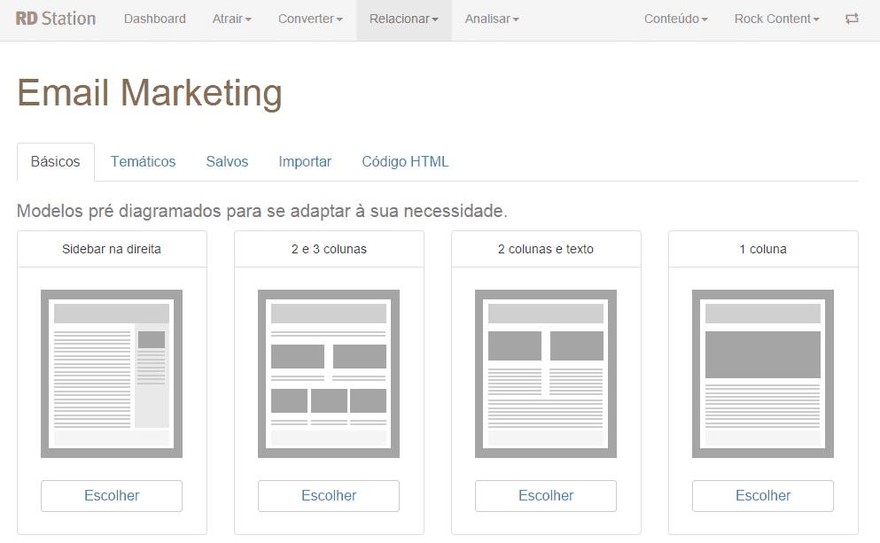 print screen de modelos pré diagramados de email marketing na rd station