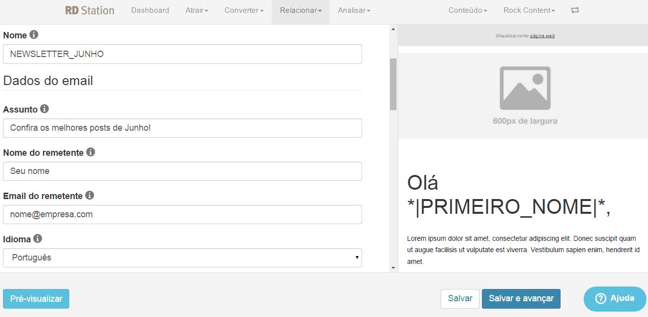 print screen com os principais dados do email marketing na rd station