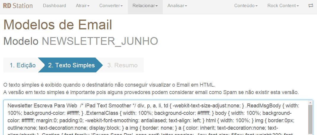 print screen com modelo de email marketing na rd station