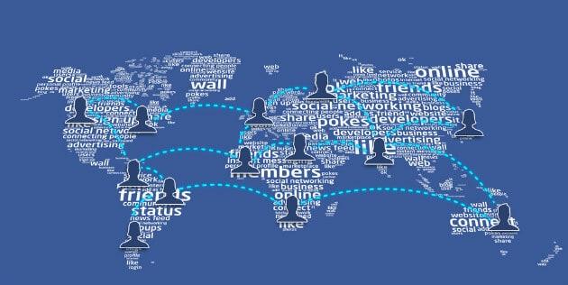 Ilustração dos usuários mundiais do facebook