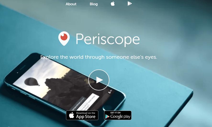 página inicial do periscope
