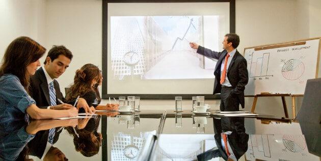 apresentação em uma empresa