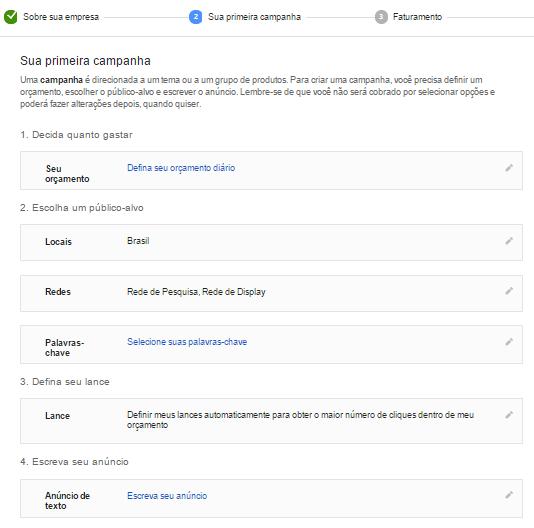 página de campanha do google adwords