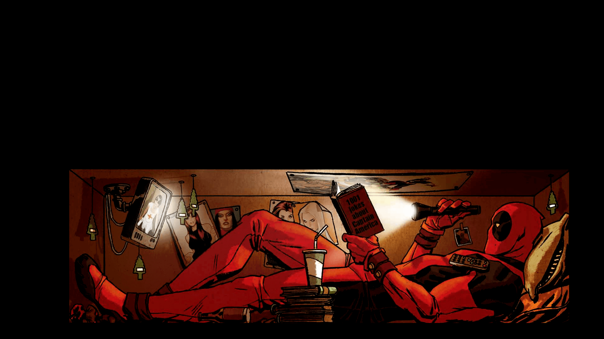 dead pool lendo com lanterna