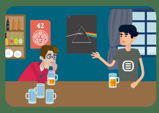 dois homens no bar