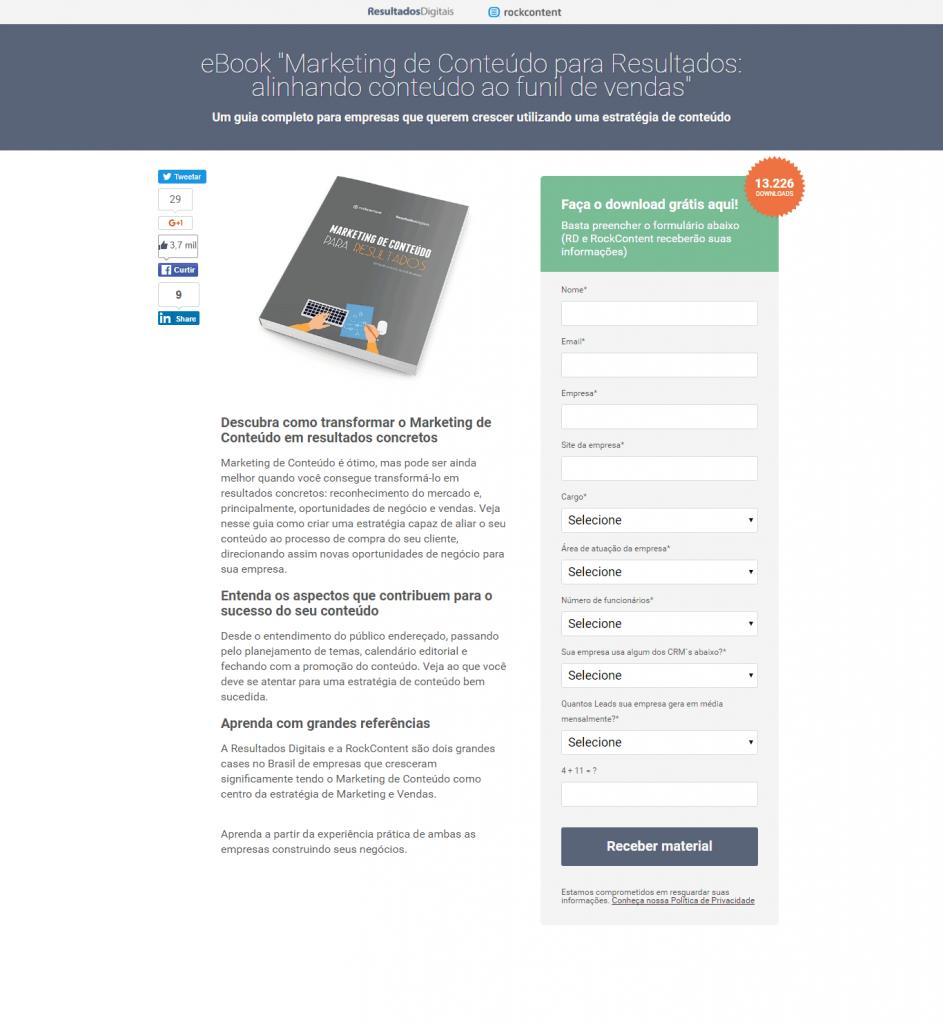 landing page download de ebook de marketing de conteúdo
