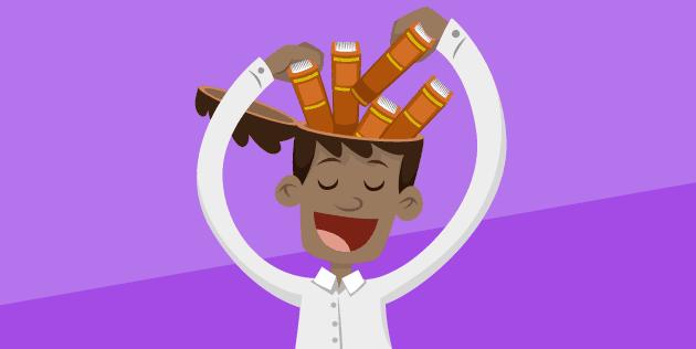 Business Intelligence, menino com livros na cabeça