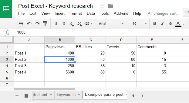 vista dentro do spreadsheets