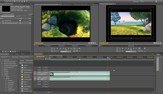 como produzir um vídeo: screenshot adobe premiere