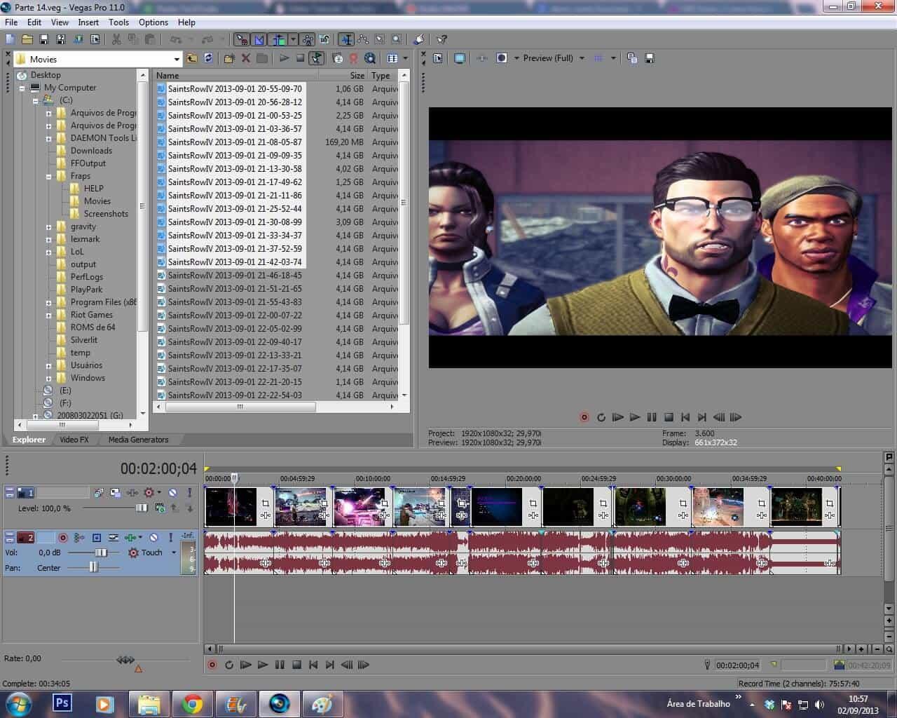 como produzir um vídeo: screenshot sony vegas