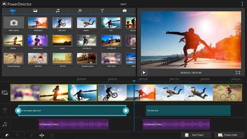 como produzir um vídeo: screenshot do PowerDirector