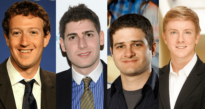 facebook: Mark Zuckerberg, Eduardo Saverin, Dustin Moskovitz e Chris Hughes