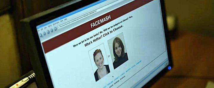 """imagem do facemash, rede social que originou o facebook. tela com os dizeres """"quem é mais atraente"""" em inglês"""