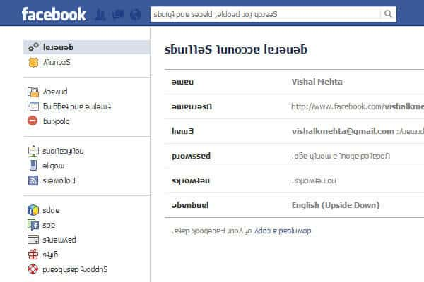 english upside down no facebook