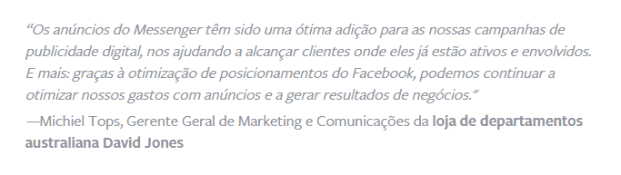 Feedback da loja David Jones sobre o Facebook Messenger Ads