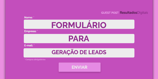 formulário para geração de leads