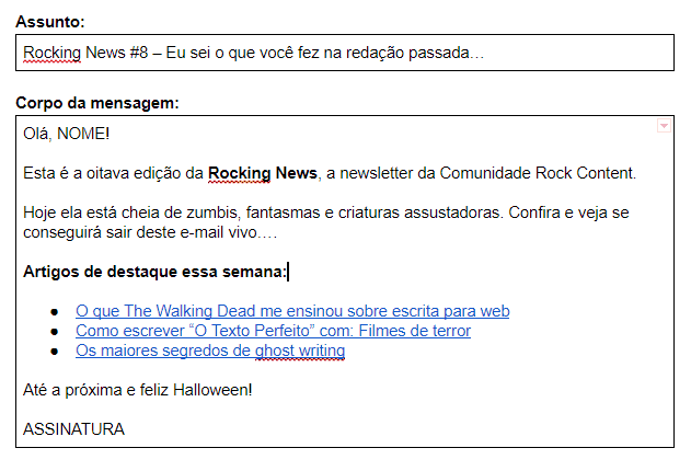 Exemplo Email Newsletter