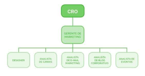 Organograma estágios dos times de marketing