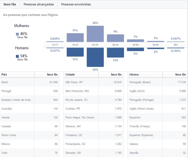 metricas de redes sociais - informações demográficas