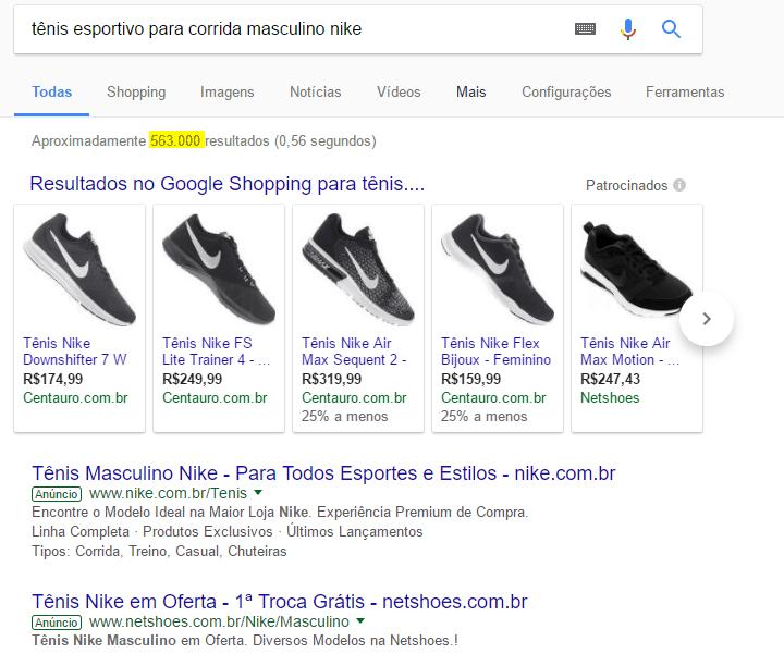 Como divulgar ecommerce: Página do Google com pesquisa específica