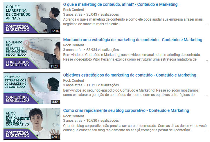 Thumbnails do canal da Rock Content
