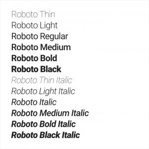 Material Design - Variações da fonte Roboto