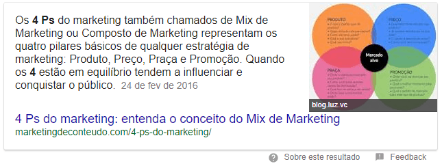 Featured snippet 4 ps do marketing