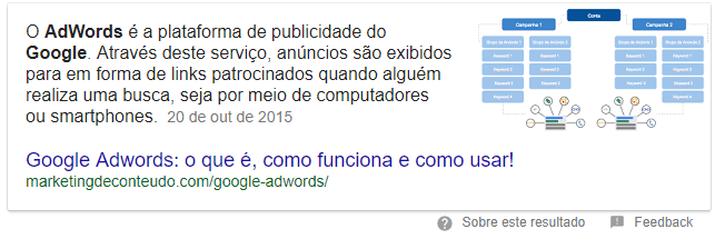 Featured Snippet Google Adwords