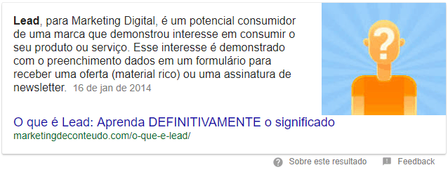 Featured snippet Lead