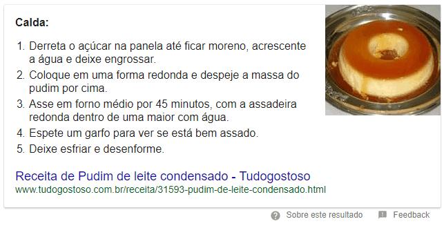 Featured Snippet de lista com receita de pudim