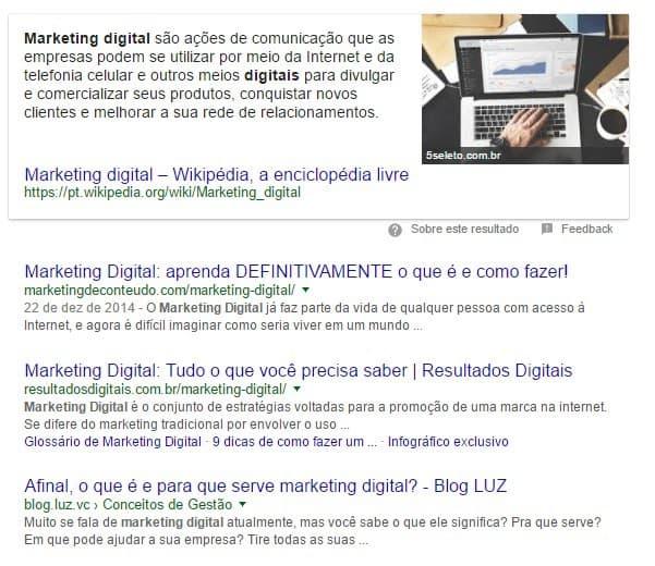 Featured Snipped de Parágrafo sobre Marketing Digital