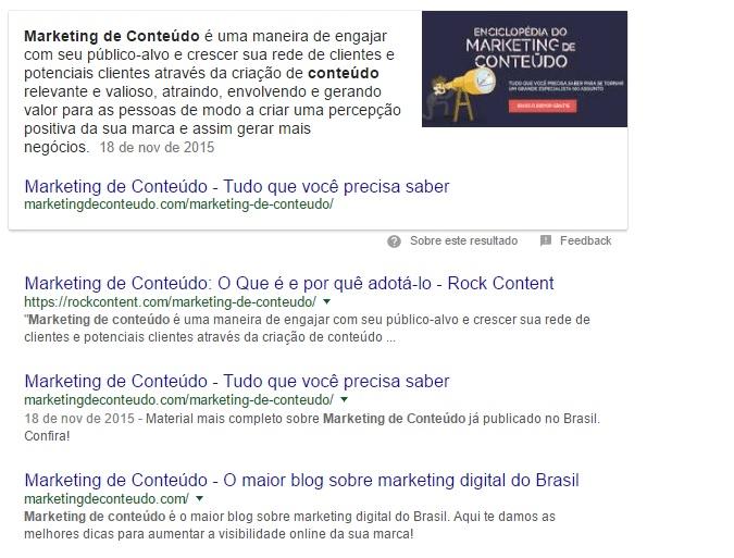 Feature Snippet de Marketing de Conteúdo