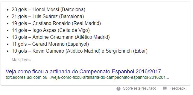 Featured Snippet de lista com a tag Veja mais