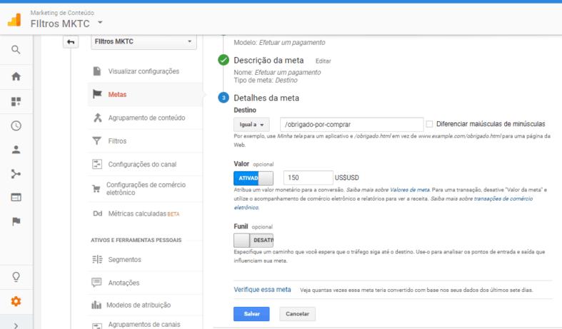 Configuração da meta no Google Analytics 3