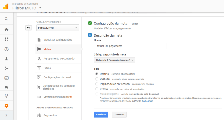Configuração de meta no Google Analytics 2