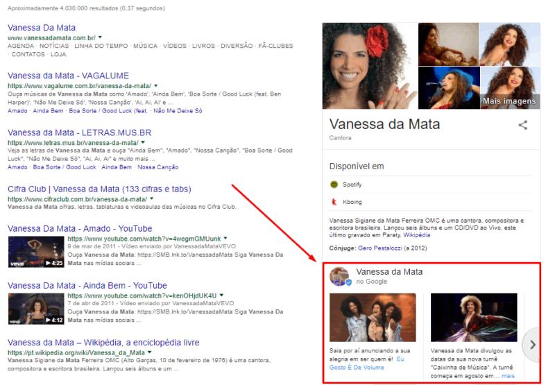 Google Posts da Vanessa da Mata
