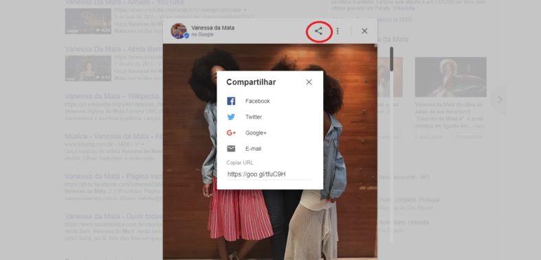 Opção de compartilhamento no Google Posts