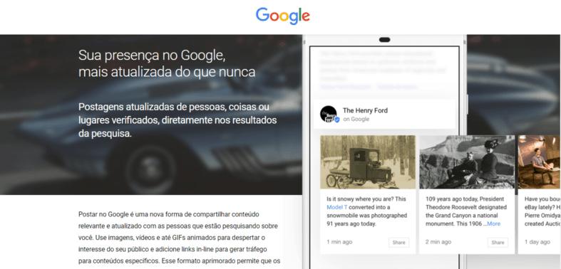 Página inicial do Google Posts