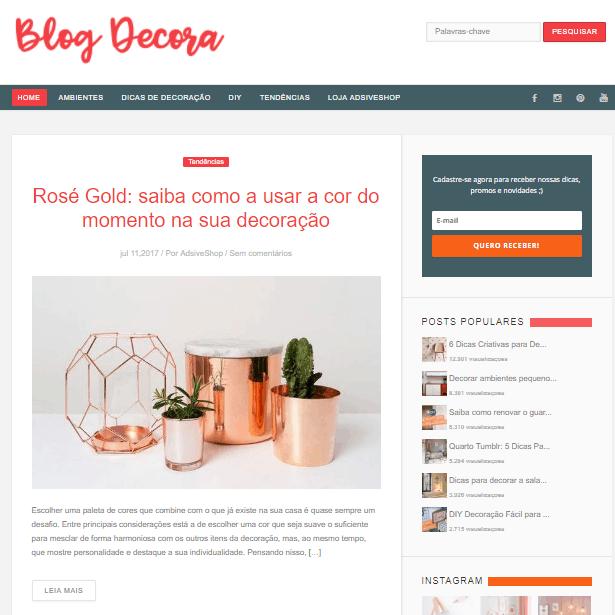 Página inicial do blog Decora