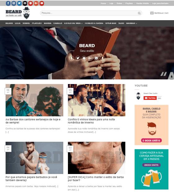 Página inicial do blog da Beard