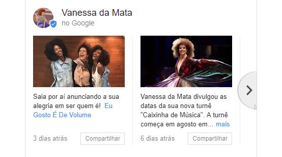 Visão ampliada do Google Posts da Vanessa da Mata