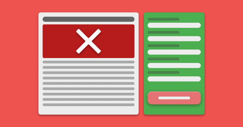 Erros em Landing Pages