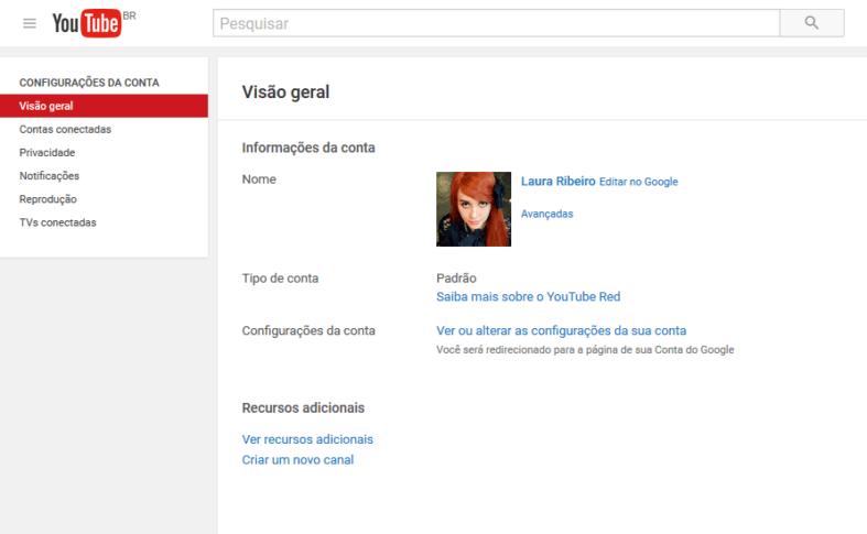 Visão geral da conta no Youtube