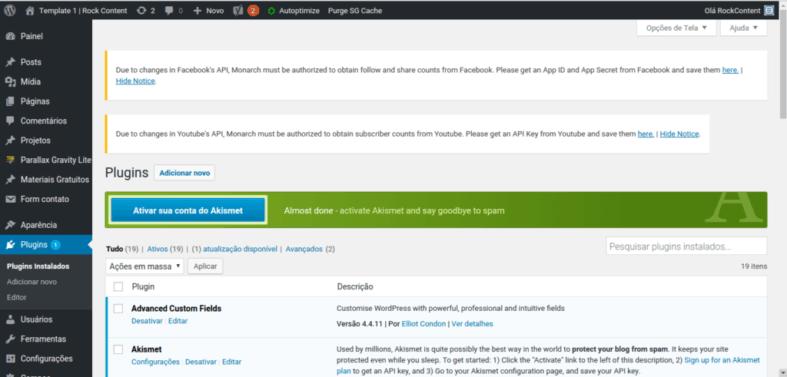 Ativar conta do Akismet no WordPress
