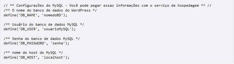 Código para instalação do WordPress.org