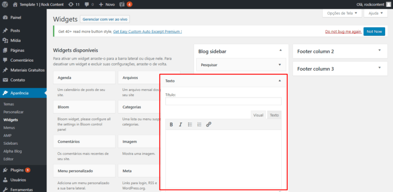 Configurar banner na caixa de testo de widget do WordPress