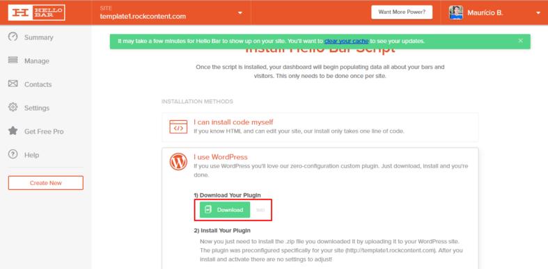 Download da Hello Bar para WordPress