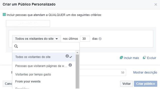 Opções de segmentação no Facebook Ads