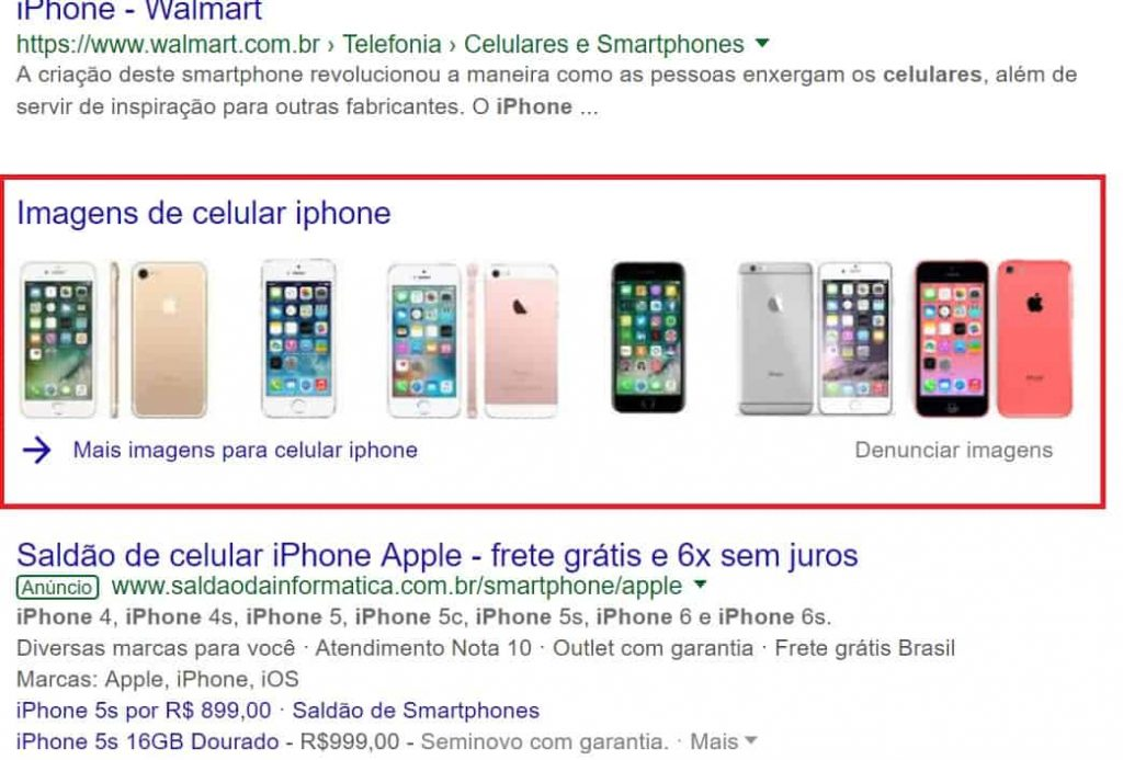 Otimizacao de imagens para ecommerce - exemplo Google